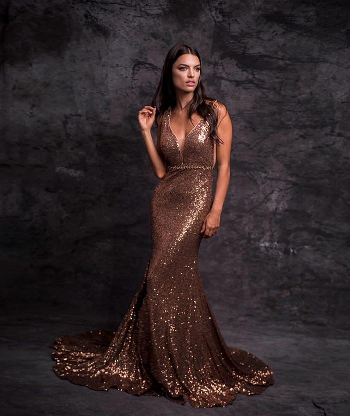 Sirena en lentejuelas dorado
